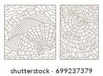 set of outline illustrations in ... | Shutterstock .eps vector #699237379