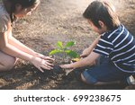 asian sibling planting young... | Shutterstock . vector #699238675