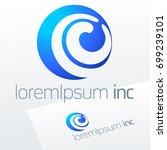 round vector sign. blue logo... | Shutterstock .eps vector #699239101