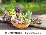 lavender and bouquet of... | Shutterstock . vector #699241189