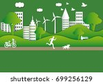 a man and a dog is running on... | Shutterstock .eps vector #699256129