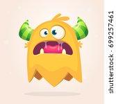 angry orange cartoon monster... | Shutterstock .eps vector #699257461