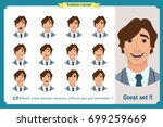 face expressions of a man...   Shutterstock .eps vector #699259669