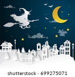 city winter and full moon with... | Shutterstock .eps vector #699275071