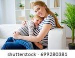 girl expecting a sister | Shutterstock . vector #699280381