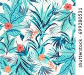 tropical flowers theme.... | Shutterstock .eps vector #699280531