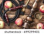 oriental smoking hookah with... | Shutterstock . vector #699299401
