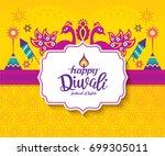 diwali hindu festival greeting... | Shutterstock .eps vector #699305011