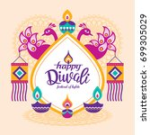 diwali hindu festival greeting... | Shutterstock .eps vector #699305029