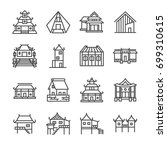 asian property line icon set.... | Shutterstock .eps vector #699310615