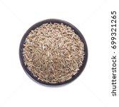 closeup cumin seeds on  bowl...   Shutterstock . vector #699321265