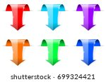 colored down arrows. 3d shiny... | Shutterstock .eps vector #699324421