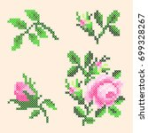 cross stitch roses elements | Shutterstock .eps vector #699328267
