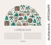 logging and lumberjack with... | Shutterstock .eps vector #699334699
