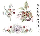 watercolor floral set. floral... | Shutterstock . vector #699335101