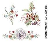 watercolor floral set. floral... | Shutterstock . vector #699335101