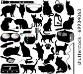 Stock vector silhouettes vector of cats kittens in different actions and pet accessories a set of cute icon 69934063