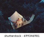 glamping tent from above | Shutterstock . vector #699346981