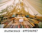 glamping inside tent | Shutterstock . vector #699346987