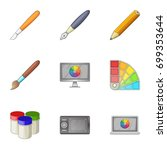 paint tools interface icons set....