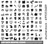 100 data mining icons set in... | Shutterstock . vector #699353689