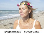 portrait of blond woman with... | Shutterstock . vector #699359251