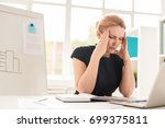 exhausted middle aged... | Shutterstock . vector #699375811