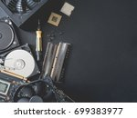 top view of computer parts with ... | Shutterstock . vector #699383977