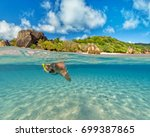 snorkeling woman exploring...   Shutterstock . vector #699387865