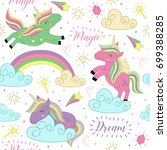 seamless pattern with magic... | Shutterstock .eps vector #699388285