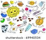 set of morning doodles vector....   Shutterstock .eps vector #69940534