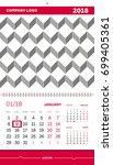 wall calendar 2018 vector... | Shutterstock .eps vector #699405361