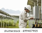 the engineer checks the... | Shutterstock . vector #699407905