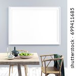 mock up poster in interior with ... | Shutterstock . vector #699411685