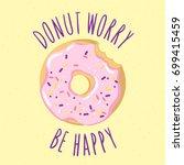 bitten glazed donut with an... | Shutterstock .eps vector #699415459