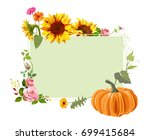autumn background  red roses ... | Shutterstock .eps vector #699415684