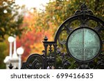 the entrance gate to boston... | Shutterstock . vector #699416635