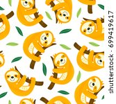 seamless pattern with sloth   ... | Shutterstock .eps vector #699419617