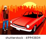 bandit with a gun standing on... | Shutterstock .eps vector #69943834