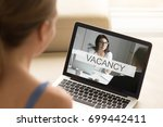 young unemployed jobless woman... | Shutterstock . vector #699442411