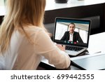 businesswoman making video call ... | Shutterstock . vector #699442555