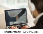 businessman in headphones using ... | Shutterstock . vector #699442681