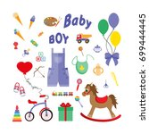 baby icons for boys. icon set...