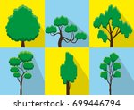 set of abstract stylized trees. ... | Shutterstock .eps vector #699446794