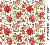 pink roses floral seamless... | Shutterstock . vector #699455044