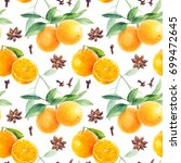 orange seamless pattern. orange ... | Shutterstock . vector #699472645