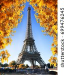 eiffel tower and maple tree in... | Shutterstock . vector #699476245