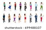 isometric set of women and men...   Shutterstock .eps vector #699488107