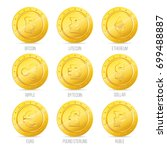 a set of icons of gold coins.... | Shutterstock .eps vector #699488887