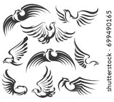 set of flying eagles icon... | Shutterstock .eps vector #699490165